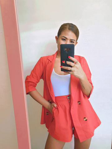 Coral Red Button Front Blazer