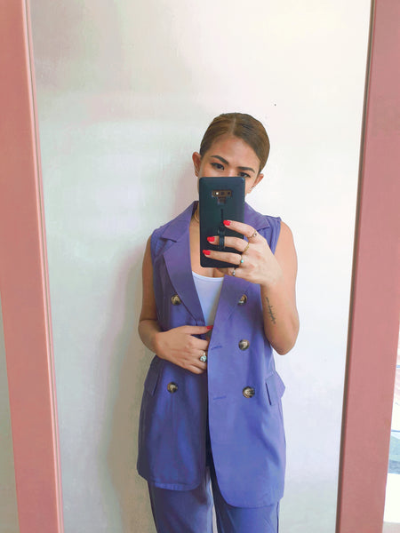 Blue Oversized Button Detail Sleeveless Blazer