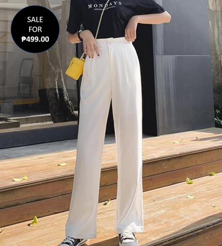 White High Waisted Pocket Detail Wide Leg Trouser