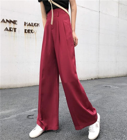 Red High Waisted Wide Leg Trouser