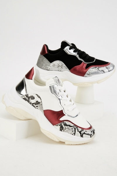 Snake Skin Print Contrast Trainers