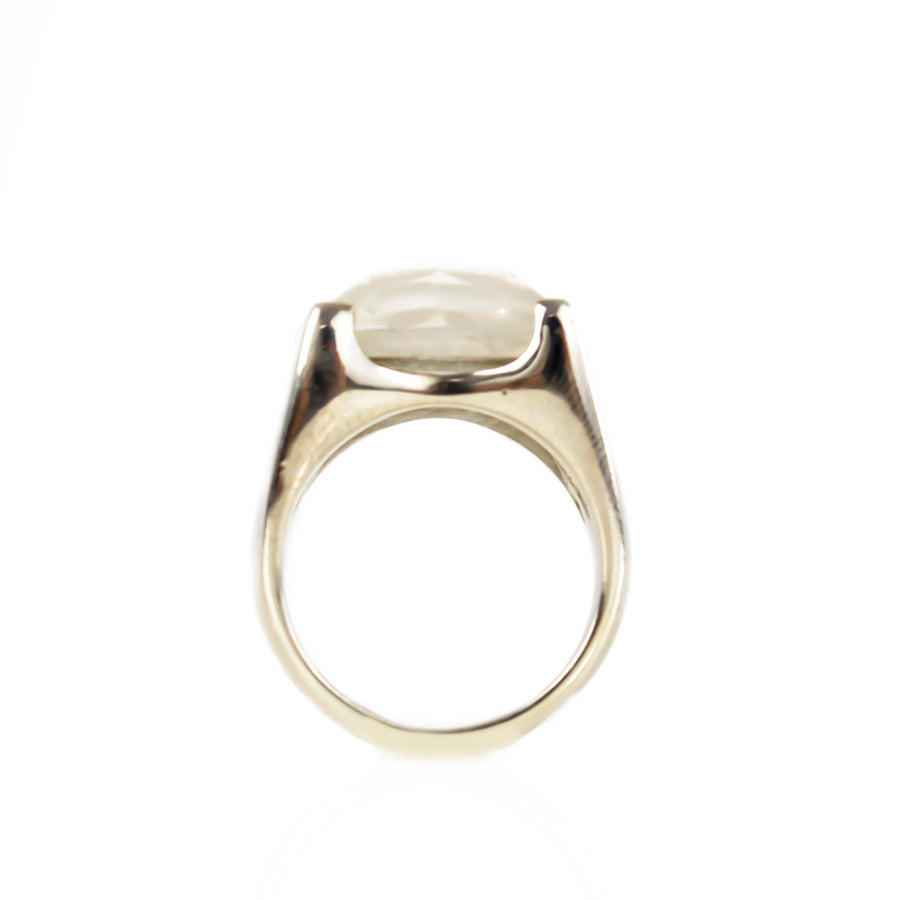 Outer Space Ring | Natural Moonstone - Crystal Quartz