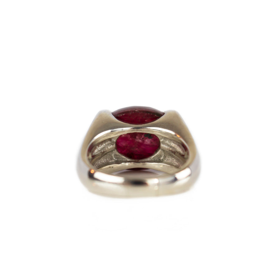 Outer Space Ring | Natural Ruby - Crystal Quartz