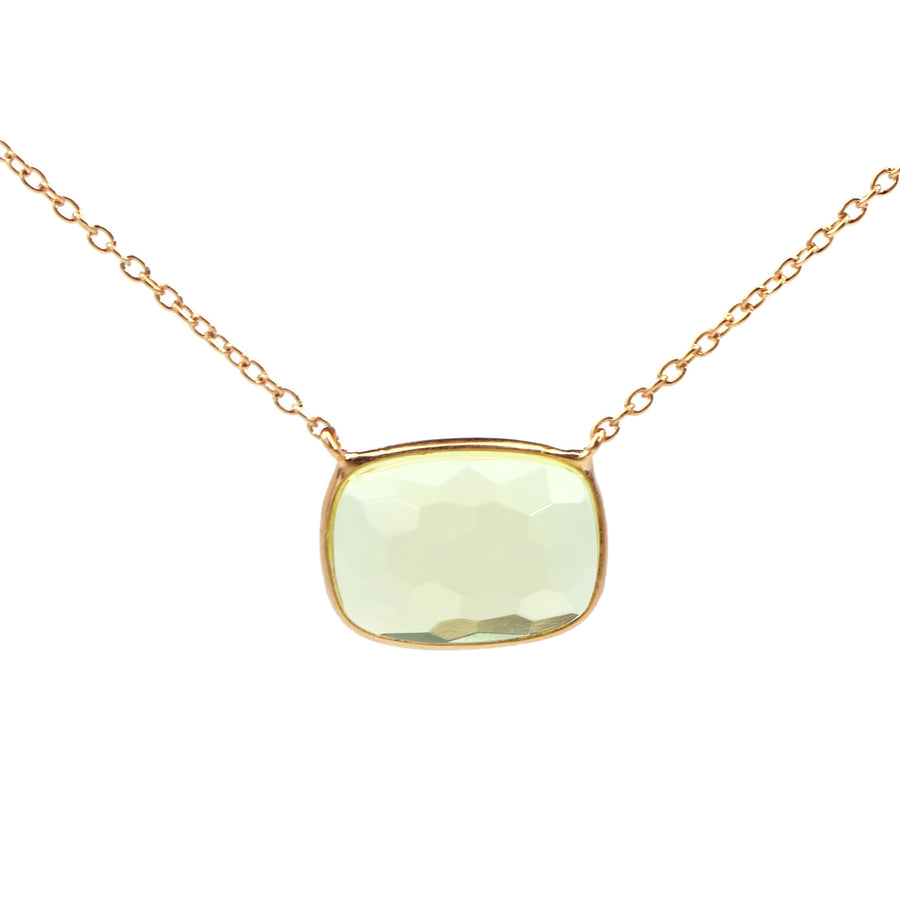 Sucrée Necklace | Lemon Quartz | Rectangle Model