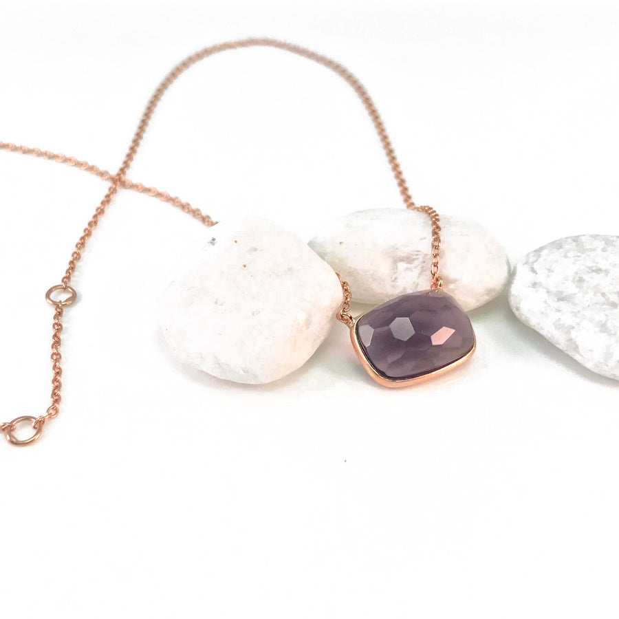 Sucrée Necklace | Purple Amethyst | Rectangle Model