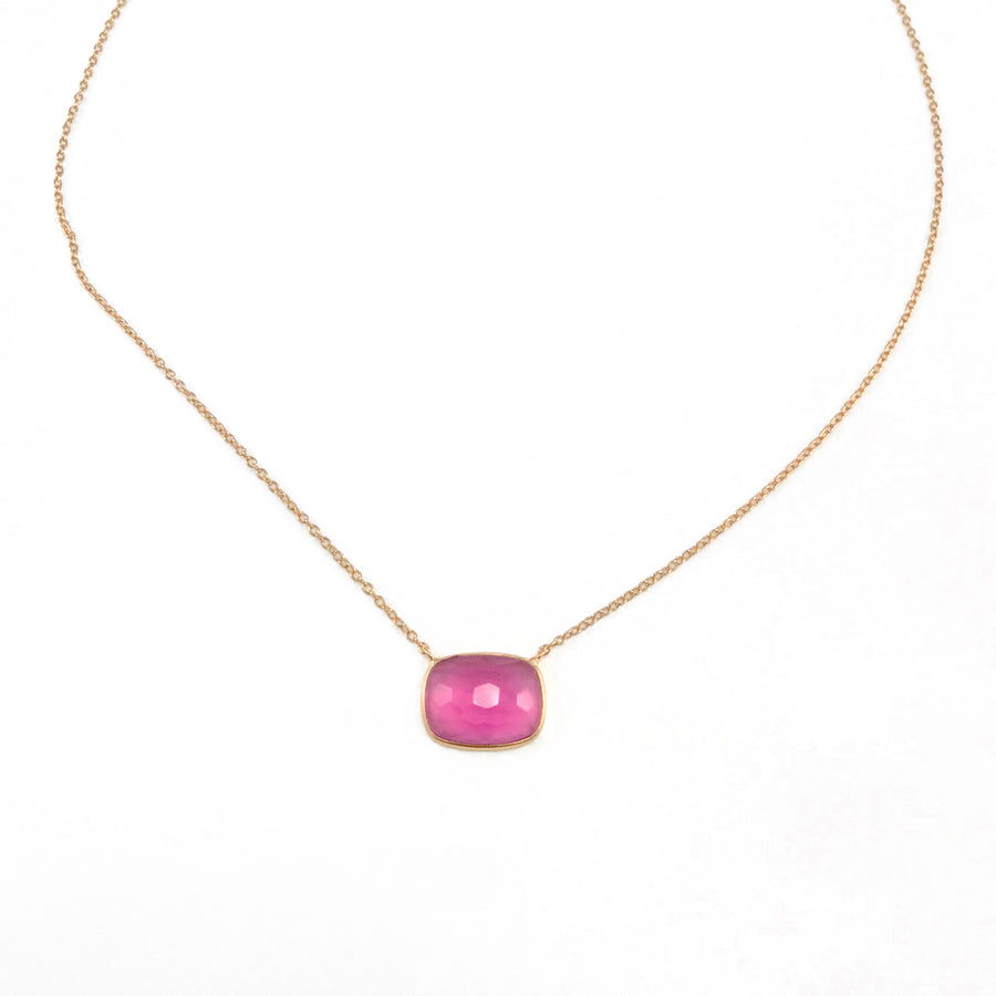 Sucrée Necklace | Pink Tourmaline Quartz | Rectangle Model