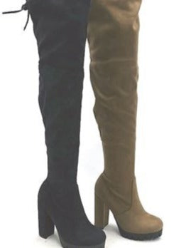 drawstring over the knee boots in black with platform heel