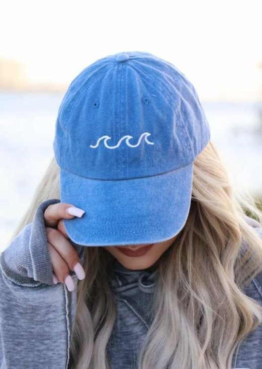 ocean waves cotton embroidered blue beach hat