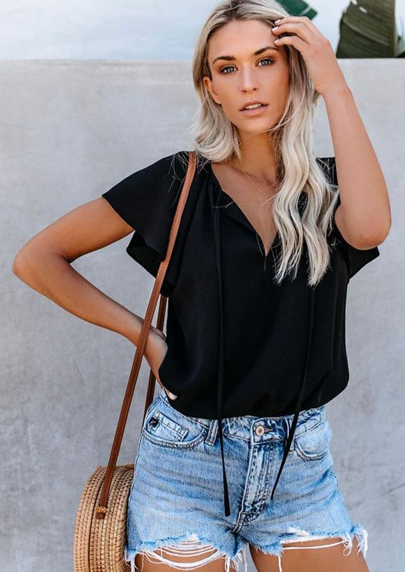 just another day black short sleeve top with v-neck
