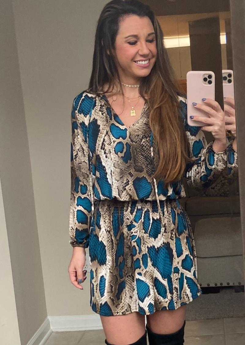 snakeskin print turquoise dress with long sleeves