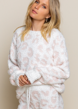 white and pink leopard fleece sweater