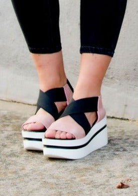 the cute pink and black wedge sandal by shushop