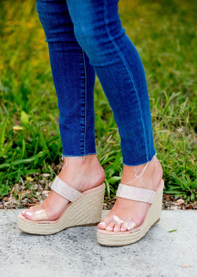 the adorable jean nude sparkle high heel wedges