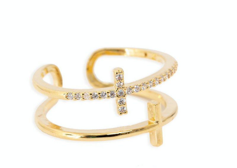 bracha always faithful 14k gold plated double cross ring