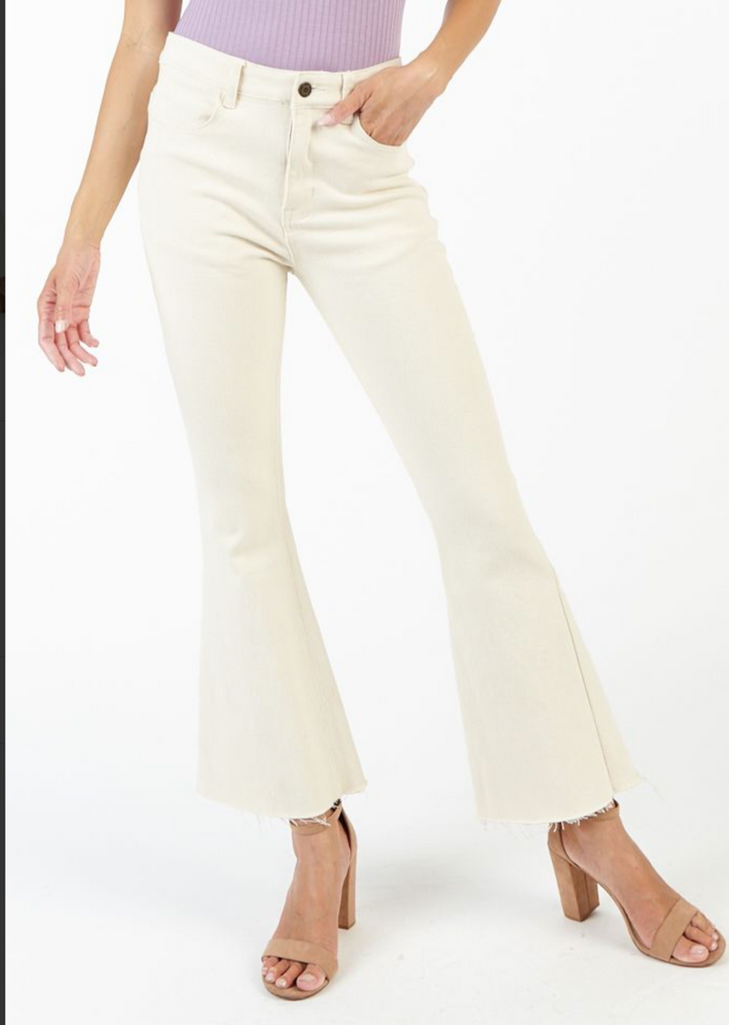 oatmeal colored high waisted cropped flared jeans