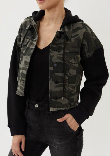 kancan camila camo jacket with hoodie and distressed hem