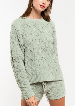 desert sage cable knit sweater