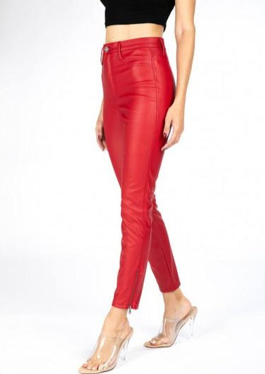 kancan red ankle jeans with hem zipper detail