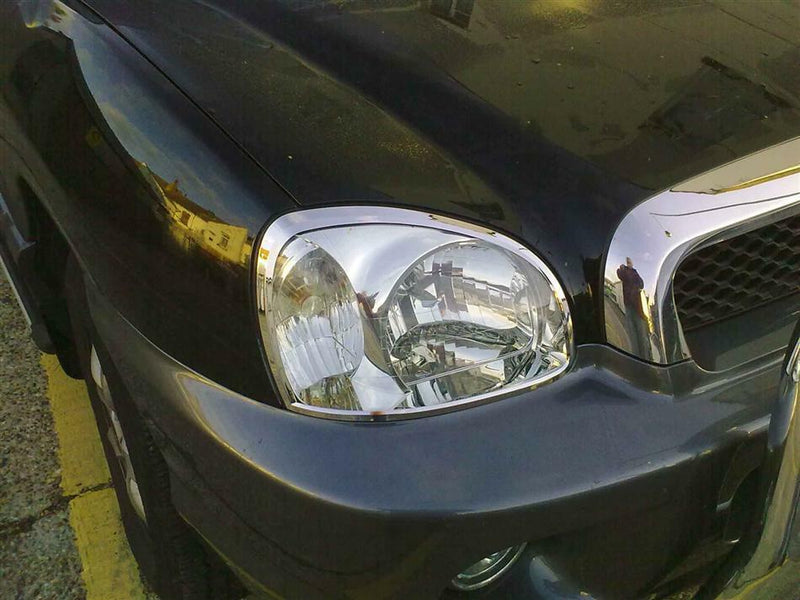Auto Clover Chrome Head Light Surrounds Trim Set for Hyundai Santa Fe 2001 - 2006