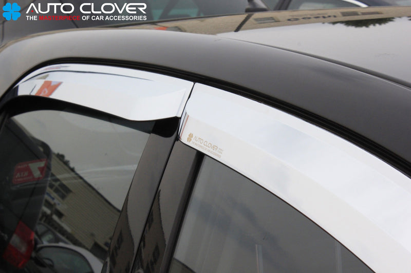 Auto Clover Chrome Wind Deflectors Set for Kia Picanto 2012 - 2016 (4 pieces)