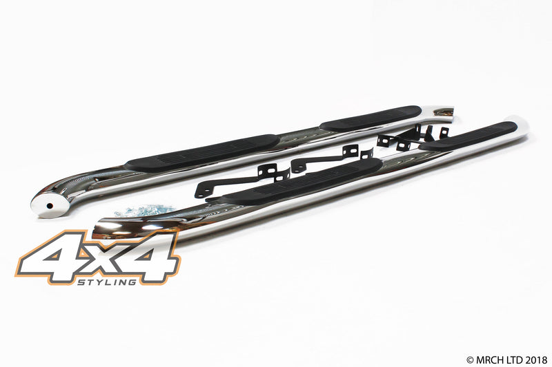"For Toyota Hilux 2005 - 2012 T304 Stainless Steel Side Steps Bars 4"" Type 2"