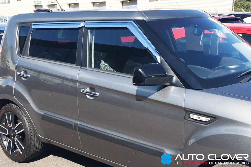 Auto Clover Chrome Wind Deflectors Set for Kia Soul 2009 - 2013 (4 pieces)