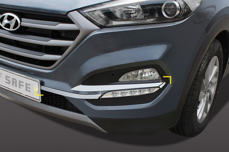 For Hyundai Tucson 2015 - 2018 Chrome Front and Rear Fog Light Trim Set