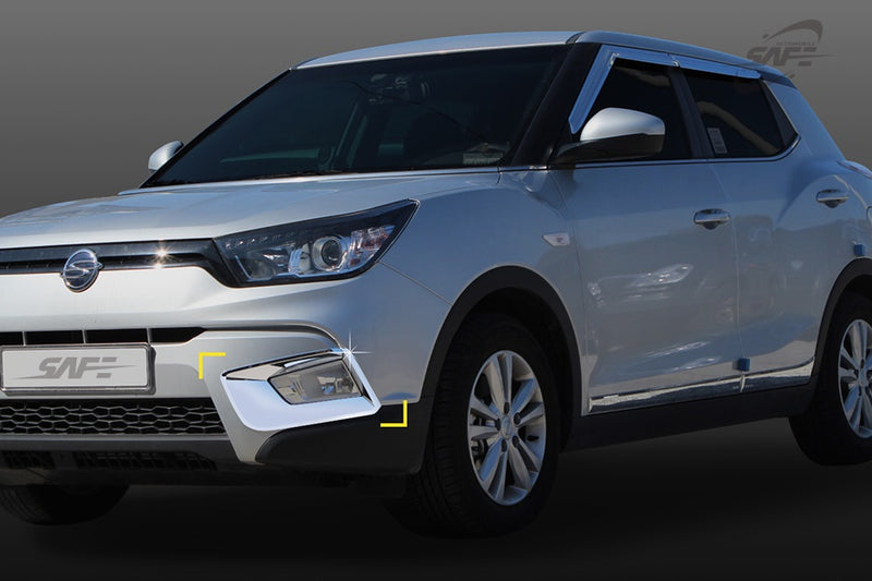 For Ssangyong Tivoli 2014+ Chrome Front Fog Light Covers Trim Set