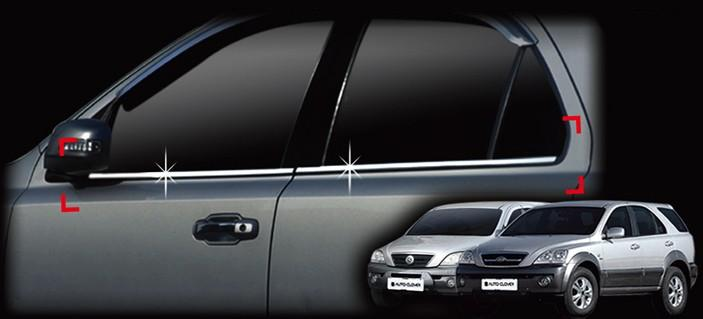 Auto Clover Chrome Side Window Frame Trim Cover Set for Kia Sorento 2003 - 2009