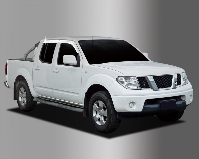 Auto Clover Chrome Wind Deflectors for Nissan Navara D40 2005 - 2015 (4 pieces)