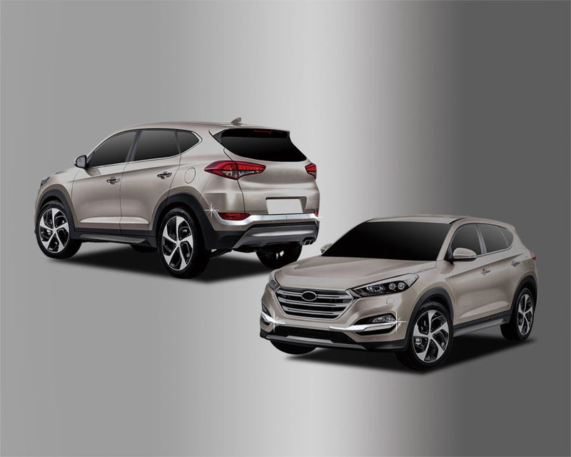 Auto Clover Chrome Front and Rear Bumper Trim Set for Hyundai Tucson 2015 - 2018