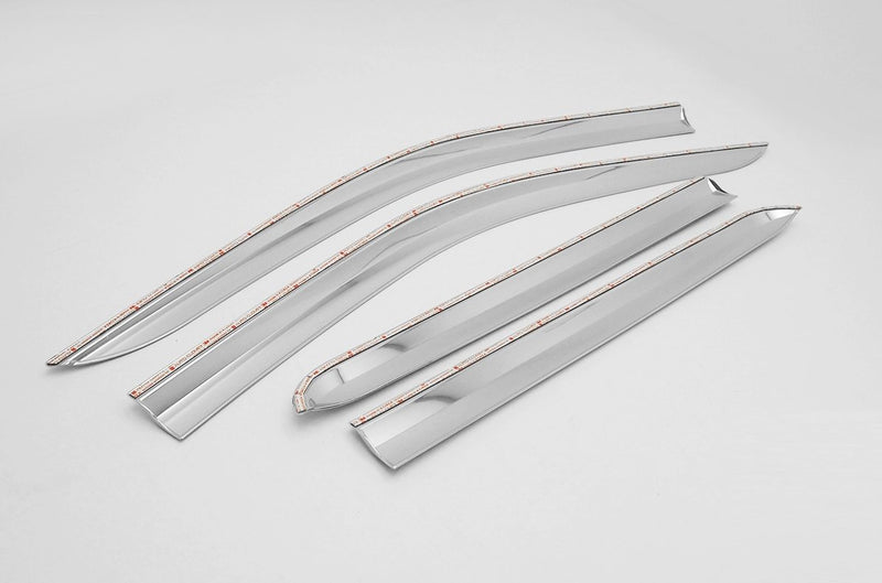 Auto Clover Chrome Wind Deflectors Set for Renault Alaskan Double Cab (4 pieces)
