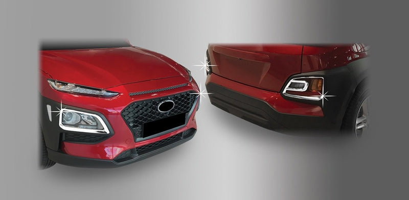 Auto Clover Chrome Front and Rear Fog Light Trim set for Hyundai Kona 2017+