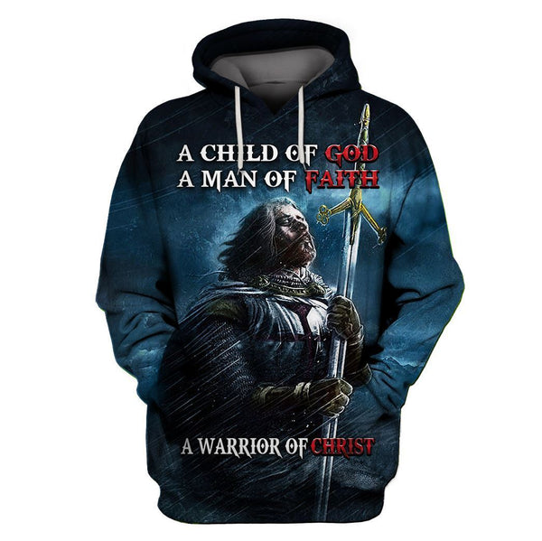 Knight templar a child of god a man of faith a warrior of christ hoodie 3D Full Printing Hoodie 3D 3D Tee Art Hoodie S