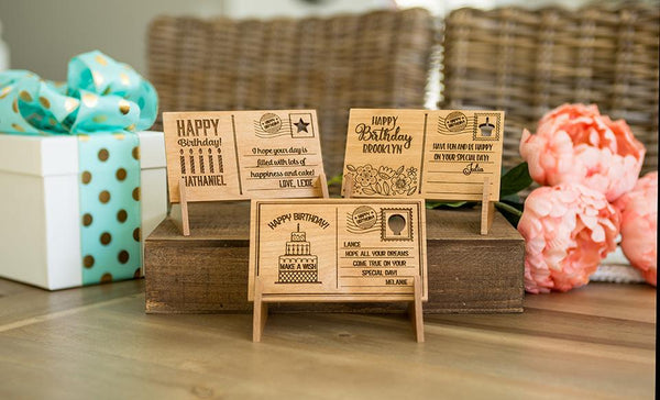 Personalized Wooden Birthday Postcards