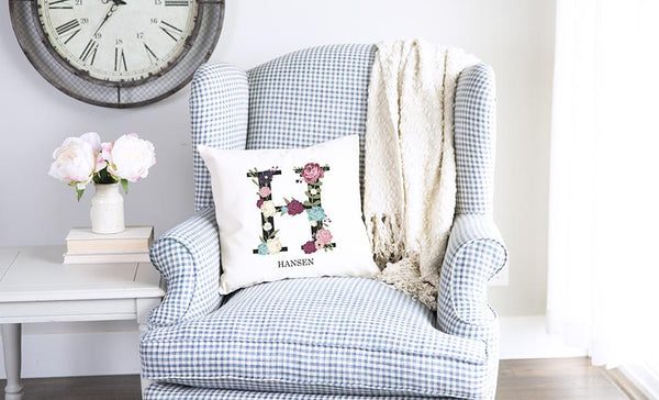 Personalized Floral Alphabet Throw Pillow Covers