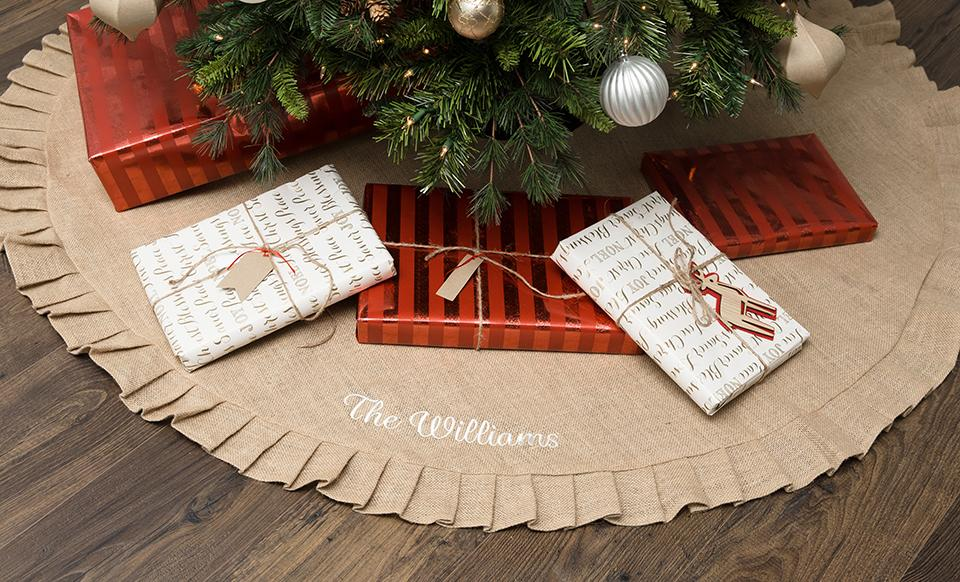 customized burlap christmas tree skirt - Burlap Christmas
