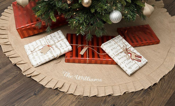 Social Media Deals - Customized Burlap Christmas Tree Skirt