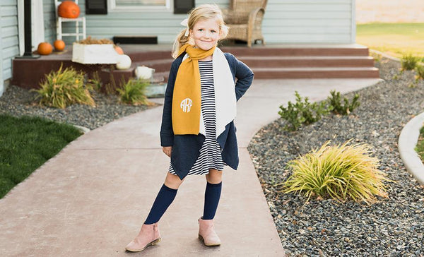 Customized Childrens Monogrammed Knit Scarves