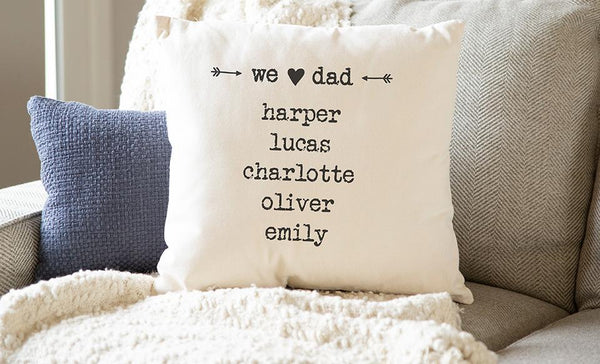 Customized Family Names Throw Pillow Cover for Dad – Farmhouse Style