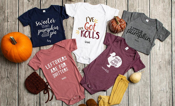 Customized Thanksgiving Infant and Toddler One-Piece Collection