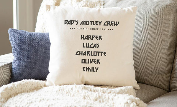Personalized Family Names Throw Pillow Cover for Dad – Motley Crew