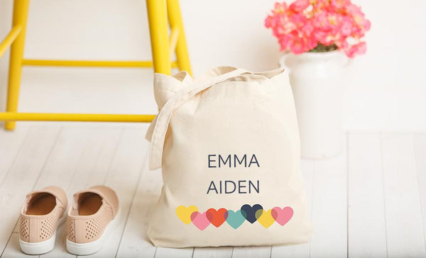 Personalized Family Names Tote Bag with Hearts