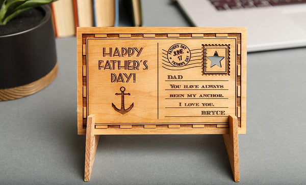 Custom Father's Day Wooden Postcards