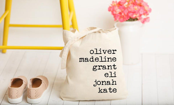 Customized Family Names Tote Bags - Vintage