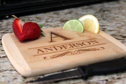 Personalized Cutting  Bar Board 6x8 (Rounded Edge) Bamboo - 11 Different Designs! - Qualtry
