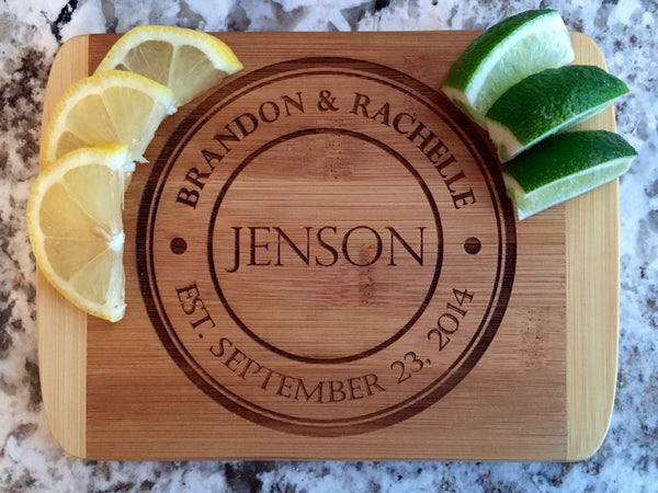 Personalized Cutting  Bar Board 6x8 (Rounded Edge) Bamboo - 11 Different Designs! - Qualtry Personalized Gifts