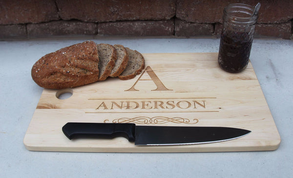Personalized Cutting Board Chic and Modern 11.5 x 17- Anderson Style - Qualtry Personalized Gifts