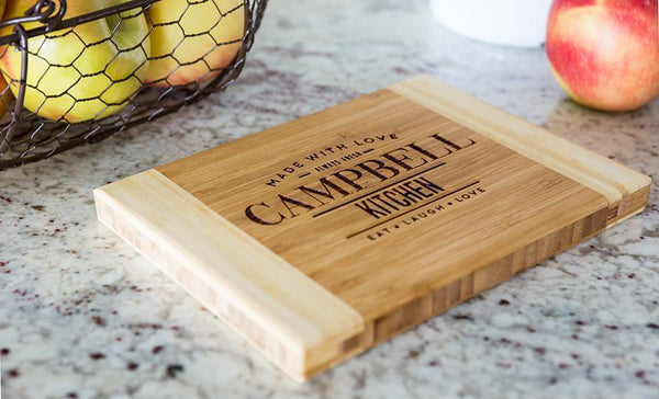 Corporate Gift Item -  Personalized Bamboo Cutting Board 6x8 (Two Tone) - Modern Collection
