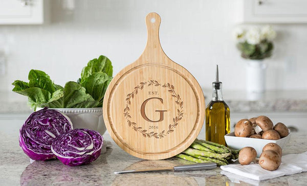 Corporate Gift Item - Large Handled Round Cutting Board with Juice Grooves - Modern Collection
